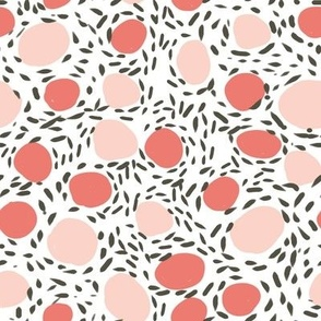 coral dots pink blush kids girls nursery baby abstract paint pattern