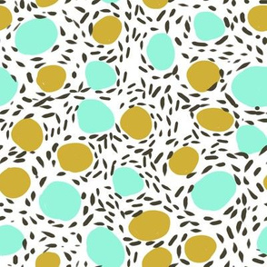abstract painted dots pebbles girls sweet aqua mint mustard dots painted