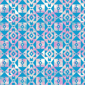 Marbled Southwest Geometric in Pink and Blue