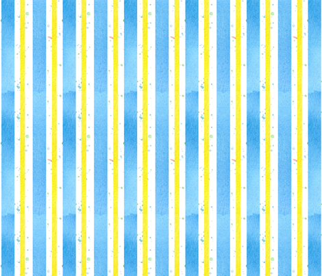 Provence Blue Yellow Stripe fabric by countrygarden on Spoonflower - custom fabric