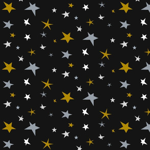 Stars - mustard smokey blue white on black