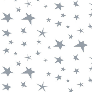 Stars - smokey blue on white