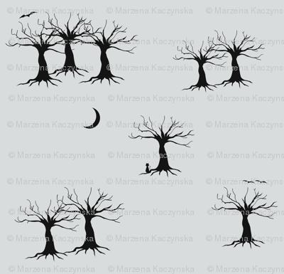Trees at night - black and grey