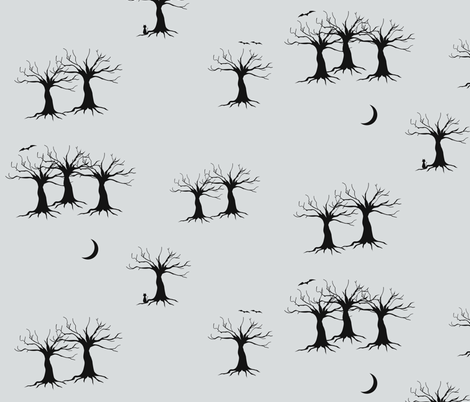 Trees at night - black and grey fabric by sunny_afternoon on Spoonflower - custom fabric