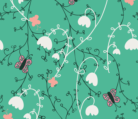 Flutterby butterfly wallpaper crissie rodda spoonflower for Flutterby wallpaper