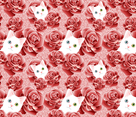 Roses and Scrolls - Pink Kitty Flavor fabric by bliss_and_kittens on Spoonflower - custom fabric