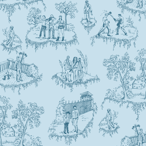 Zombie Toile - Blue fabric by julieprescesky on Spoonflower - custom fabric