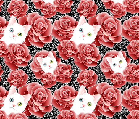 Roses and Scrolls - Black Kitty Flavor fabric by bliss_and_kittens on Spoonflower - custom fabric