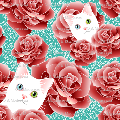 Roses and Scrolls - Teal Kitty Flavor