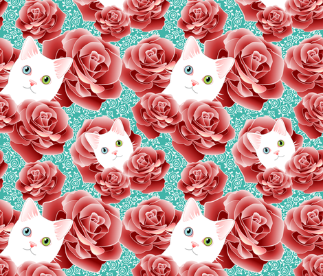 Roses and Scrolls - Teal Kitty Flavor fabric by bliss_and_kittens on Spoonflower - custom fabric