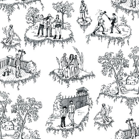 zombie toile black and white fabric julieprescesky spoonflower. Black Bedroom Furniture Sets. Home Design Ideas