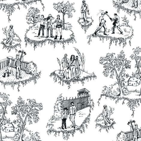 Zombie Toile - Black and White fabric by julieprescesky on Spoonflower - custom fabric