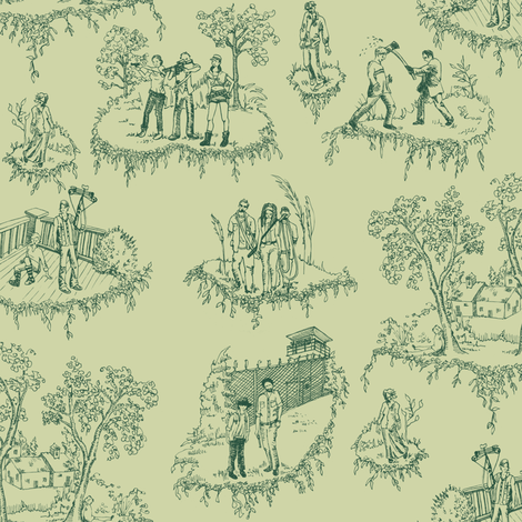 Zombie Toile - Green fabric by julieprescesky on Spoonflower - custom fabric