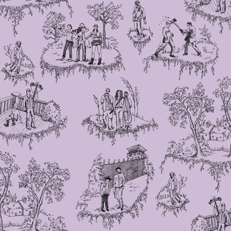 Zombie Toile - Purple fabric by julieprescesky on Spoonflower - custom fabric