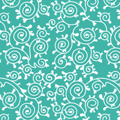 Roses and Scrolls - Teal Kitty Flavor Coordinate