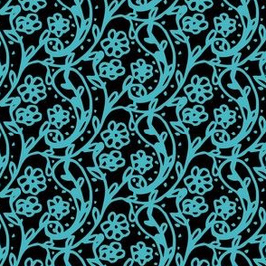 Sweet Paisley Black and Blue