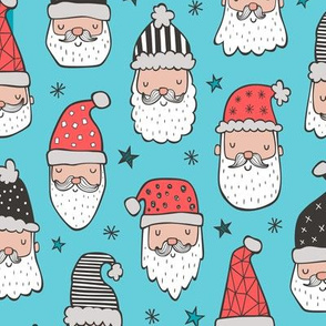 Christmas Santa Claus with Stars on Blue