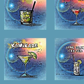 12 drinks from a to m in blue