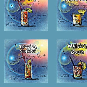 12 drinks from m to w in blue