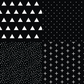 Fat Quarter Bundle // Blackest Black Triangles, X, Snow, Skinny Plus