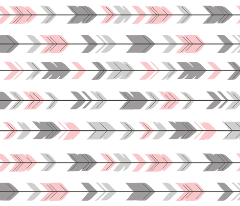 Arrow Feather - grey/pink 90 degree- Meadow Sunrise fabric by sugarpinedesign on Spoonflower - custom fabric