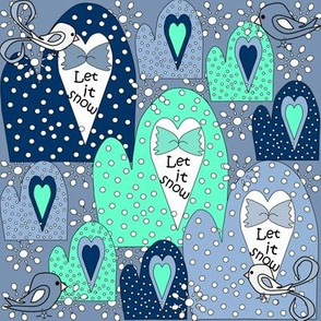 Winter Mittens, Birds & Snowflakes Fabric