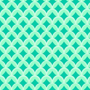 Mint and Green Scalloped Geometric