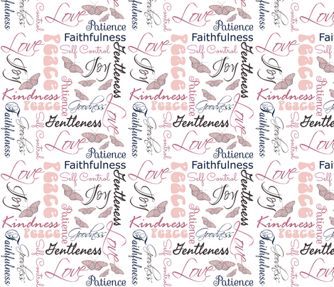 Fruit of  the Spirit Butterflies pink on white fabric by pamelachi on Spoonflower - custom fabric