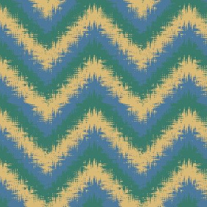 AW1 - Fancy Bargello Zigzag with fringed edges, yellow, green and blue