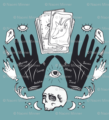 Curses and Spells Damask Black and Blue