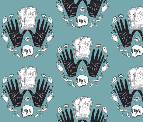 Curses and Spells Damask Black and Blue fabric by bella_modiste on Spoonflower - custom fabric