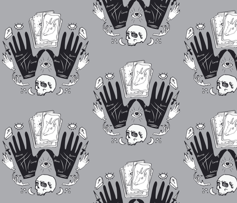 Curses and Spells Damask Black and Gray fabric by bella_modiste on Spoonflower - custom fabric
