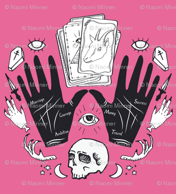 Curses and Spells Damask Black and Pink