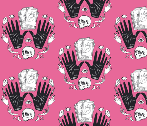 Curses and Spells Damask Black and Pink fabric by bella_modiste on Spoonflower - custom fabric