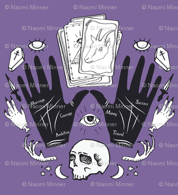 Curses and Spells Damask Black and Purple