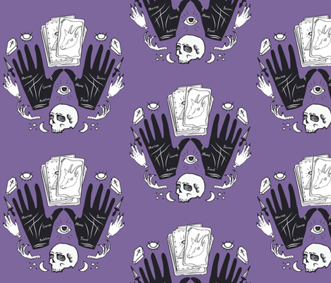 Curses and Spells Damask Black and Purple fabric by bella_modiste on Spoonflower - custom fabric
