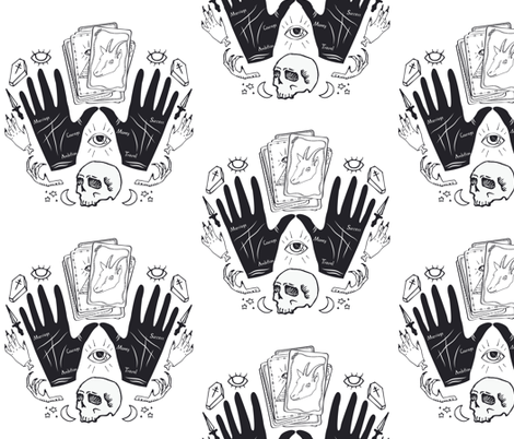 Curses and Spells Damask Black and White fabric by bella_modiste on Spoonflower - custom fabric