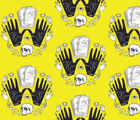 Curses and Spells Damask Black and Yellow fabric by bella_modiste on Spoonflower - custom fabric