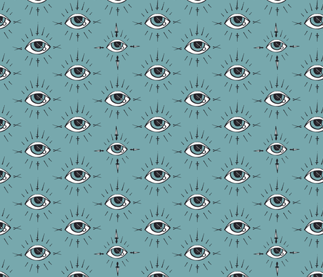 Curses and Spells Eyes Black and Blue fabric by bella_modiste on Spoonflower - custom fabric