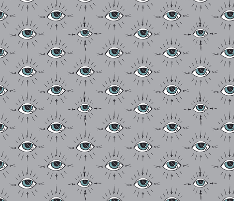 Curses and Spells Eyes Black and Gray fabric by bella_modiste on Spoonflower - custom fabric