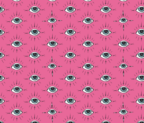 Curses and Spells Eyes Black and Pink fabric by bella_modiste on Spoonflower - custom fabric