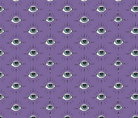 Curses and Spells Eyes Black and Purple fabric by bella_modiste on Spoonflower - custom fabric
