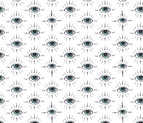 Curses and Spells Eyes Black and White fabric by bella_modiste on Spoonflower - custom fabric