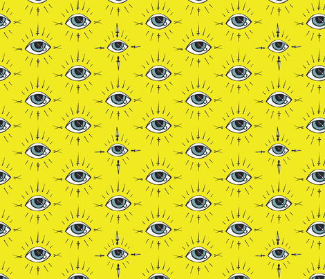 Curses and Spells Eyes Black and Yellow fabric by bella_modiste on Spoonflower - custom fabric