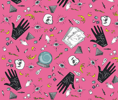Curses and Spells in Pink fabric by bella_modiste on Spoonflower - custom fabric