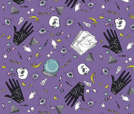 Curses and Spells in Purple fabric by bella_modiste on Spoonflower - custom fabric