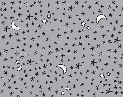 Curses and Spells Stars Black and Gray