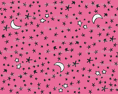 Curses and Spells Stars Black and Pink