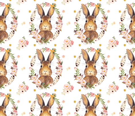 "7"" - Some Bunny Loves Me - White fabric by shopcabin on Spoonflower - custom fabric"
