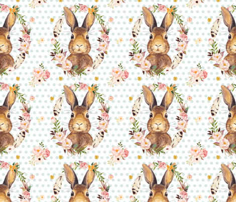 "7"" Some Bunny Loves Me Polka Dots Minty fabric by shopcabin on Spoonflower - custom fabric"
